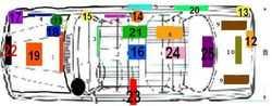 Schema per l'ubicazione del numero di telaio.